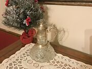 Antique Crystal And Silver Plate Wine Or Claret Carafe / Decanter / Pitcher / Jug