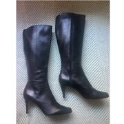 Arturo Chiang Black Leather Tall Boots, Size 9.5