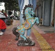Chinese Fengshui Bronze Cloisonne Enamel Horse Steed Horses Success Lucky Statue