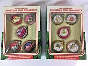 Red And Green Stripe Glass Commodore Christmas Classics Ornaments Lot Of 2 Boxes