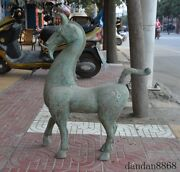 Old Chinese Fengshui Bronze Silver Beast Animal Patterns Tang Horse Lucky Statue