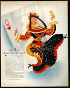 1942 Vintage Print Ad 40's C Johnson Wax Queen Heart Playing Card Art Image