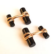 Vintage And Co. 18k Yellow Gold And Onyx Menand039s Cufflinks Cuff Set
