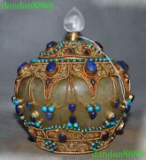 8 Old Tibet Crystal Inlay Silver Filigree Gilt Turquoise Coral Tank Bottle Pot