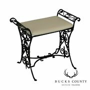 Wrought Iron Art Deco Period Vintage Leather Seat Bench