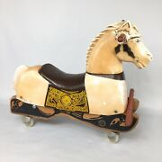Vintage Rich Toys Horse 1960andrsquos Plastic Wood Rolling Riding