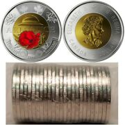 2018 Canada 2 100th Anniversary Of The Armistice Red Poppy Toonie Roll Of 25pcs