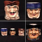 Antique Set Of 3 Miniature Toby Head Mugs Pitchers Made In Occupied Japan