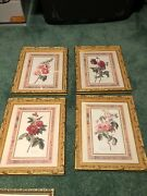 Vintage Style Flower 5pc Wall Art Set Intricate Gold Leaf Frame Windsor And Mirror