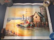 Unstretched Canvas Oil Painting Paul L New England Seaside Fishing Village Rc3