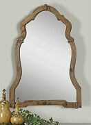 Farmhouse Xxl 30 Rustic Brown Stained Wood Shield Shaped Wall Vanity Mirror