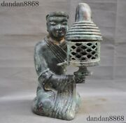 Old China Bronze Ware Ancient Character Oil Lamp Oil-lamps Light Palace Lantern