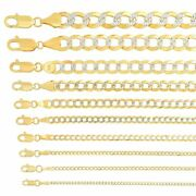Solid 14k Yellow Gold Cuban Link Chain Necklace D/cut 1.5mm-10mm Sz 16-30