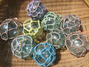 Japanese Glass Fishing Floats 3-3.5 Netted 5 Five Net Buoy Authentic Vintage