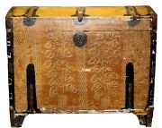 Large Antique Vintage Dome-top Painted Steamer Trunk Chest Dated 1905