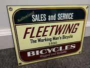 Fleetwing Defunct Vintage Bicycle Company From 1890and039s...12 Inch Sign Schwinn