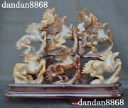 Chinese Natural Agate Head Carved Success 8 Horse Auspicious Combination Statue