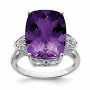 Sterling Silver 2 Mm Checker-cut Amethyst And Diamond Ring Msrp 1520