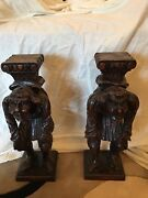 Antique French Carved Wood Figural Corbels