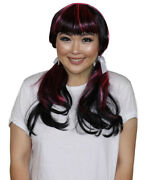 Black Pink Straight Wig With Bangs For Cosplay Monster High Draculaura Hw-1870
