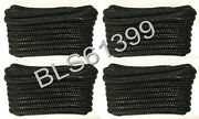 4 Black Boat Dock Lines 1/2 Double Braid Hq Marine Rope 2 Each 15and039 And 20and039 Feet