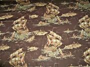 Designer Sailing Ships Marco Polo Polished Cotton Fabric10yards Brown Multi