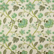 Manuel Canovas Mina Floral Embroidered Cotton Fabric 10 Yards Turquoise Green