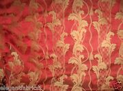 Stroheim Neoclassical Empire Acanthus Silk Damask Fabric 5 Yards Ruby Gold