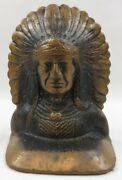 Antique Solid Bronze Bookend Regal Native American Chieftains By Gra-bar Erie Pa