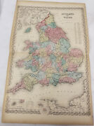Antique Colton Map Atlas Colored Lithograph England Wales 1855 Double Page