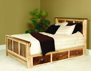 Amish Panel Bed Storage Drawers Solid Wood Walnut Maple 2-tone Queen King Usa