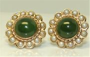 Vintage 9ct Jadite Pearl Cabochon Clip On Earrings 9 Carat Yellow Gold