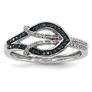 White Night Collection Sterling Silver Blue And White Diamond Ring Msrp 659