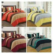 Dcp 7 Piece Comforter Set Complete Bed In A Bag Stripe Plaid King Queen Cal King