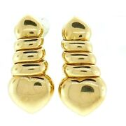 18k Yellow Gold Fred Paris Love Heart Earrings Signed Stamped