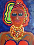 Original Painting Egyptian Queen Artifacts Black African Woman Art Collectibles