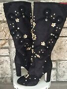 New Dolce And Gabbana Black Jeweled And Studded Satin Knee-high Boots Size 39 3895