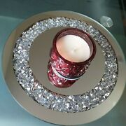 Loose Diamond Mirrored Round 25 Cm Candle Plate Center Piece Wedding Table