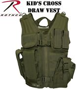 Army Kids Olive Drab Cross Draw Tactical Vest Military Molle Tactical Vest 5294