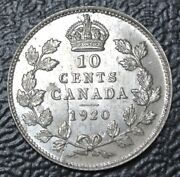 Old Canadian Coin 1920 - Ten Cents - .800 Silver-high Grade -hair On Die - Error