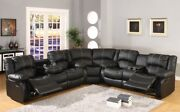 Black Leatherette Reclining Motion Sectional Sofa Wedge Loveseat Storage Console