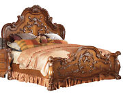 California King Bed Dresden Traditional Luxury Cherry Oak Carved Wood Accents