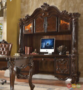 Versailles Traditional Cherry Oak Scrolled Computer Desk And Hutch Brown Red