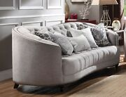 New Julia Curved Light Gray Curved Tufted Sofa With Plush Feather Down Seating