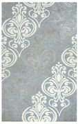 Rizzy Lancaster Soft Wool Area Rug 9 X 12and039 Blue Grey Silver Off White Ornamental
