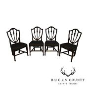 Hepplewhite Style Antique 19th Century Set Of 4 Inlaid Shield Back Dining Chairs