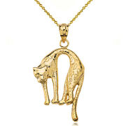 Solid 14k Yellow Gold Detailed Attack Mode Arched Cheetah Print Pendant Necklace