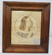 Antique Early Folk Art Americana Calligraphy Pretty Girl Signed Pen And Ink