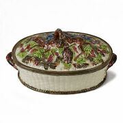 Antique Majolica Lidded Pottery Game Pie Dish 19 C