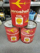 3-vintage Aeroshell Oil Shell Airplane Aircraft Oil Cans 1 Quart Can Unopened